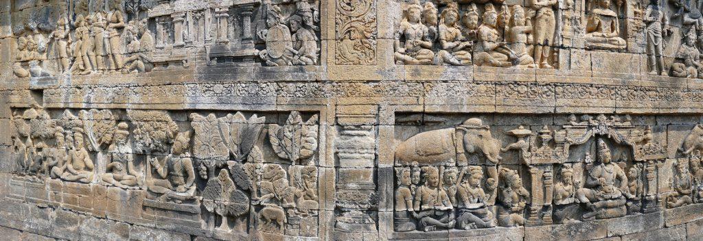 Reliefs beschreiben zum Leben Buddhas