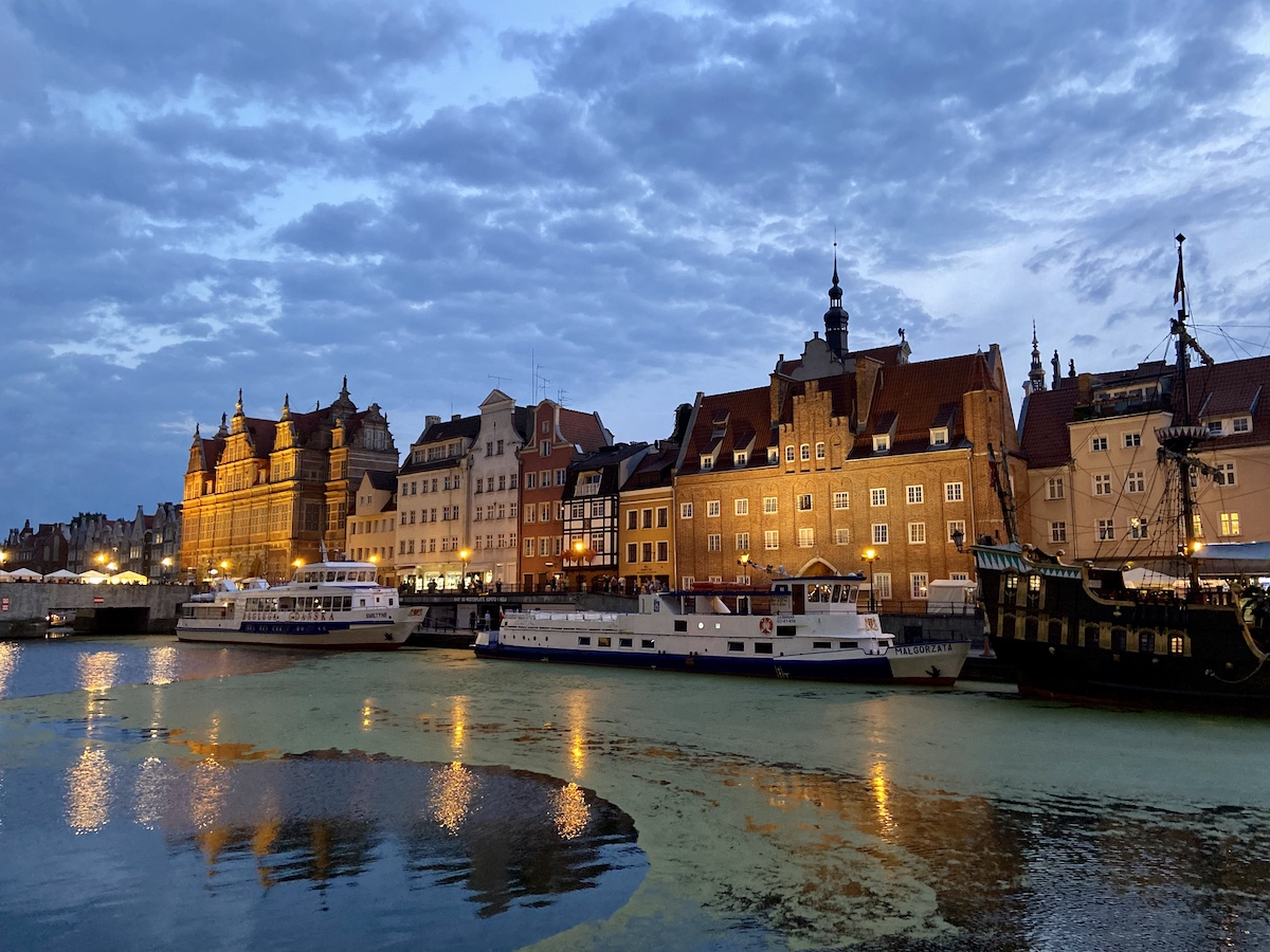 Danzig, Mottlau, Blick auf die historische Altstadt