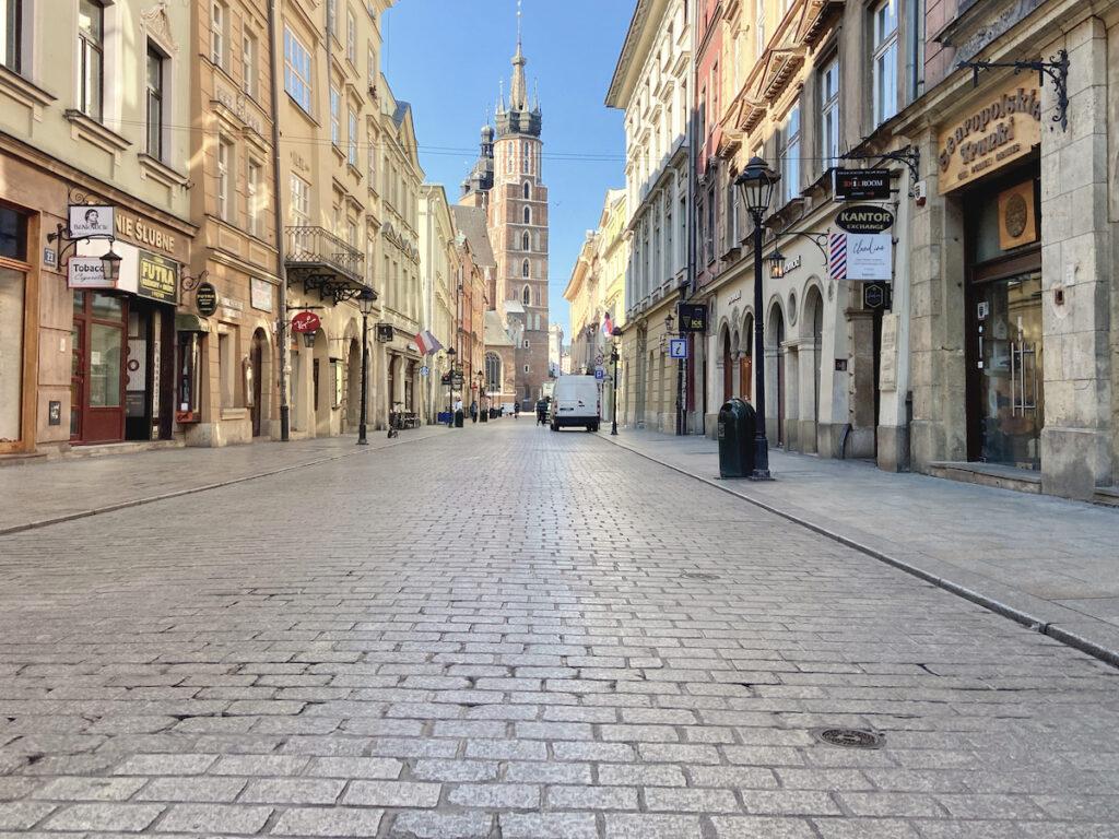 Krakau, Altstadt, Floriansgasse mit Blick auf die Marienkirche