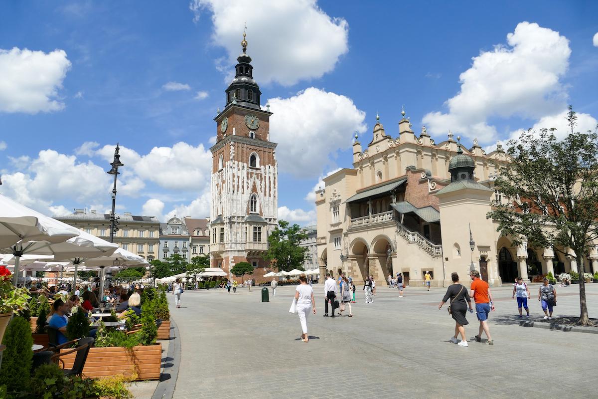 Krakau, Altstadt, Rathausturm und Tuchhallen