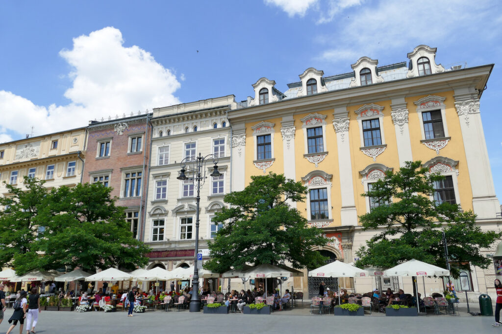 Krakau, Rynek, praechtige Hausfassaden