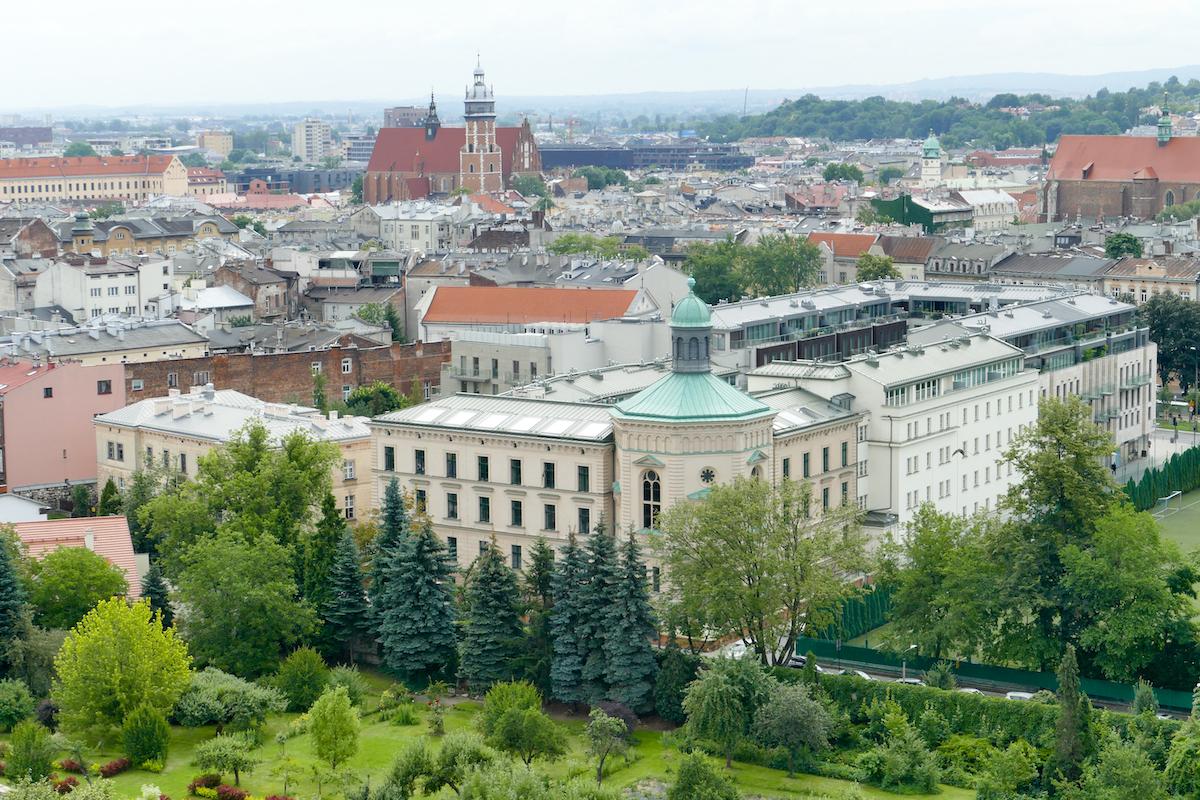 Krakau, Wawelburg, Blick auf die Altstadt vom Sandomir-Turm