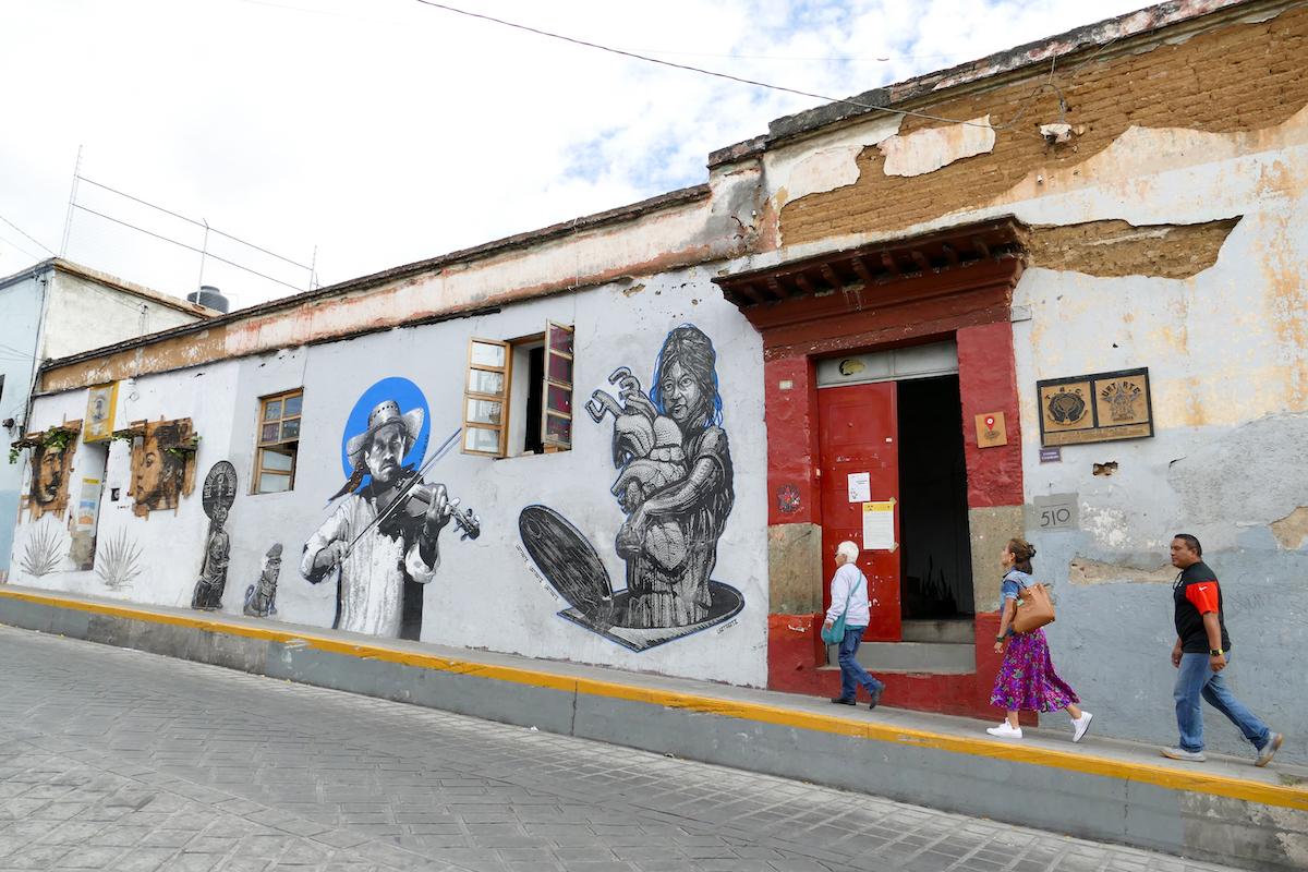 Oaxaca, Espacio Zapata, beruehmtes, revolutionaeres Kunstkollektiv